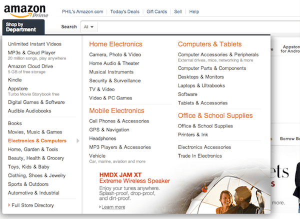 Menu e-Commerce Amazon