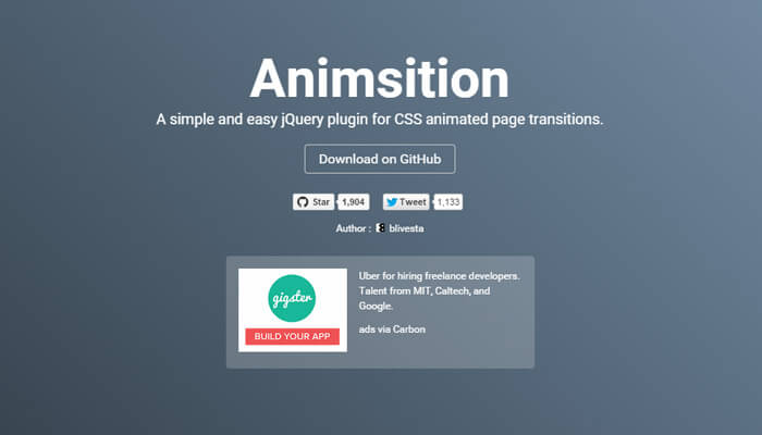 animsition js plugin library open source
