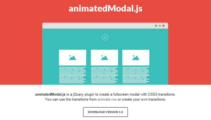 animated modal js open source lib