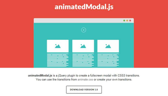 animated modal js open source lib